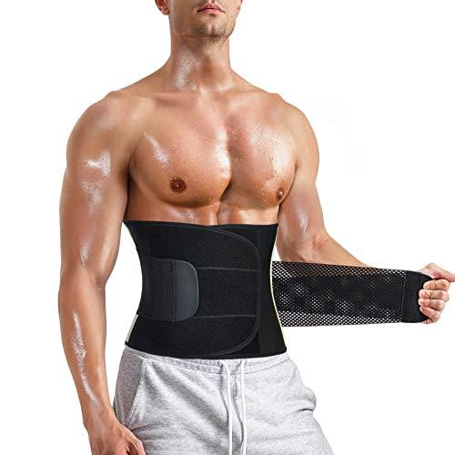 Chumian - Cinturón de sudación abdominal para hombre, adelgazante, cinturón reductor de cadera plano, neopreno, deporte, ajustable, fitness, sauna (color negro, XXL)