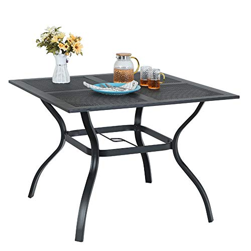 MF STUIDIO 37' x 37' Square Patio Bistro Table Outdoor Dining Table Powder-Coated Steel Frame Top Umbrella Stand Deck Outdoor Furniture Garden Table, Black