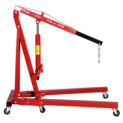 Goplus 2 Ton Folding Engine Hoist Cherry Picker Shop Crane Hoist Lift, Heavy Duty Steel with 6 Iron Caster Wheels (Red)
