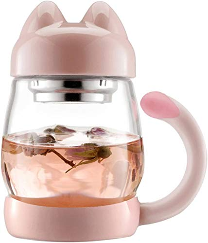 Taza para gatos con colador de té (0,42 l), portátil, resistente al calor, taza de té de inmersión con tapa, para oficina y hogar