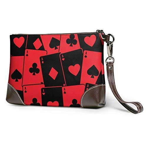 GLGFashion Carteras de cuero para mujer Red Poker Card Women's Leather Wristlet Clutch Purses Portable Makeup Cosmetic Bag Handbag Organizer Wallet With Zipper For Women Girls