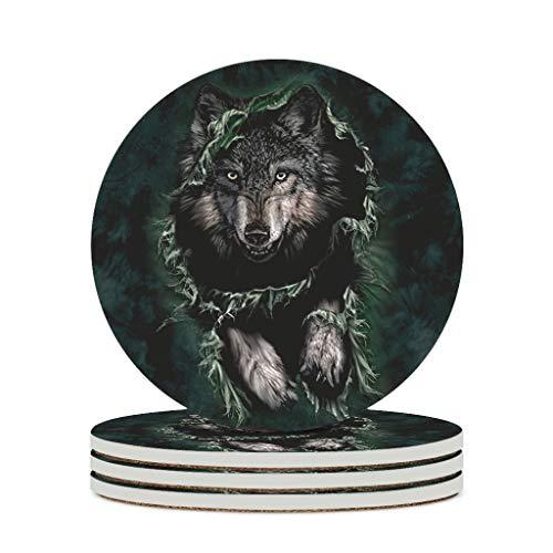 Wraill Runden Untersetzer 3D Durchbruch Wolf Keramik Untersetzer 4er/6er Set Absorbierenden Untersetzer mit Korkboden für Gläser Tasse White 6pcs