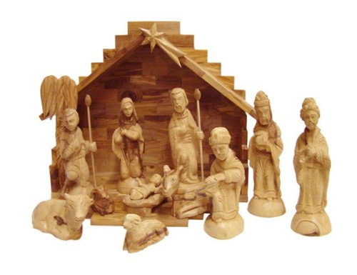 Olive Wood Nativity Set With Stable Deluxe 15 Piece Set