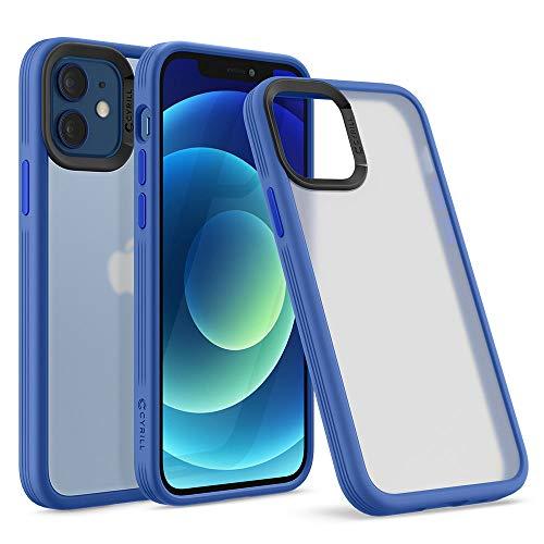 CYRILL de Spigen Color Brick Funda Compatible con iPhone 12 Pro y iPhone 12, TPU Suave con PC Semitransparente - Lino Azul