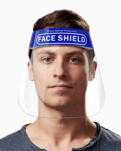 FACE SHIELD Prem FS175 Disposable Face Shield with Adjustable Elastic Strap Anti-Splash Reusable Protective Facial Cover Transparent Full Face Visor with Eye & Head Protection (5 pcs)