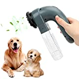 PBRO Electric Pet Hair Remover Device Sucker with Soft Rubber, Portable Massage Dog Cat Grooming Brush Hair Vacuum Cleaner,Efficient Animal Hair Removal Tool,Perfect for Your Cat and Dog-Grey.
