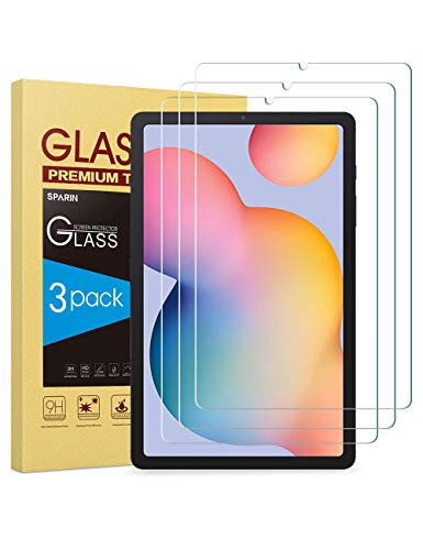 [3-Pack] Galaxy Tab S6 Lite Screen Protector, SPARIN 9H Hardness Tempered Glass Screen Protector for Samsung Galaxy Tab S6 Lite 10.4 Inch, with S Pen Compatible, Scratch Resistant