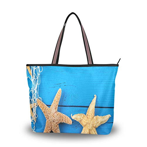 Blue Wooden Board Starfish Ocean Shoulder Bags for Women Girls Ladies Student Purse Shopping Tote Bag Light Weight Strap Handbags
