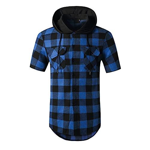 Camisas A Cuadros De Moda con Capucha para Hombre, Sudadera con Empalme con Botones, Camisetas De CelosíA De Manga Corta, Camisa Informal para Hombre, Camisa Social para Negocios