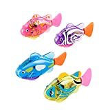 4Pcs Cat Robot Fish Toys Swimming Robotic Fish Moving Interactive Toys Electric Fish Toy with LED Light for Cats Dogs and Kids
