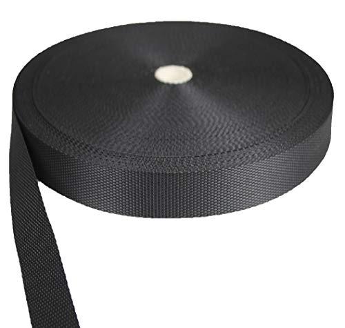 Tukan-tex Gurtband Polypropylene schwarz 25mm breit - 50 Meter Länge / 2,5 cm Breite
