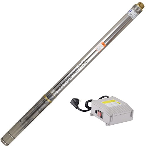 Agora-Tec® AT- 3 Zoll Edelstahl Brunnenpumpe Tiefbrunnenpumpe 750W-3.8 mit 30 m Kabel max: 8.5 bar, max: 3800l/h