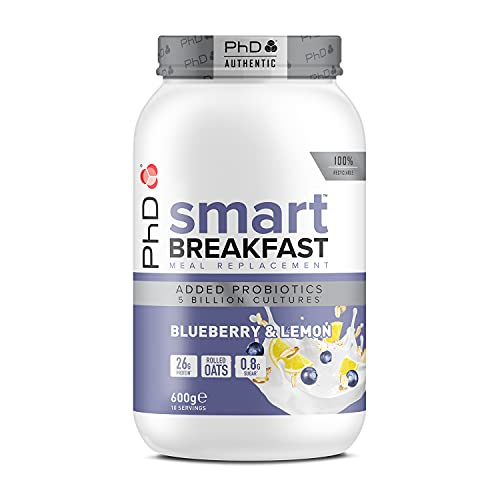 PhD Nutrition Smart Breakfast Meal Replacement Protein Shake Blueberry & Lemon, 600 g