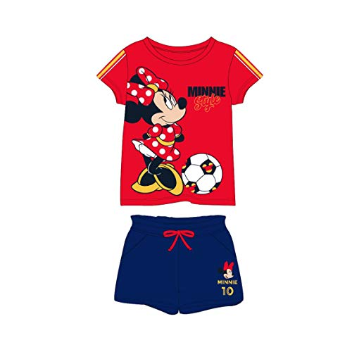 Pijama corto de verano 2 piezas niña Minnie Mouse Disney | 100% algodón suave | 6-12-18 meses 2-3-4-6-8-10-12-14 años Sport A 4 años