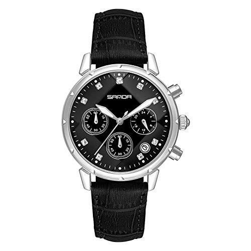SANDA Reloj Mujer,Tendencia de la Moda con el Reloj de Las señoras del cinturón de Agua Casual de la Aguja-Negro y Plata