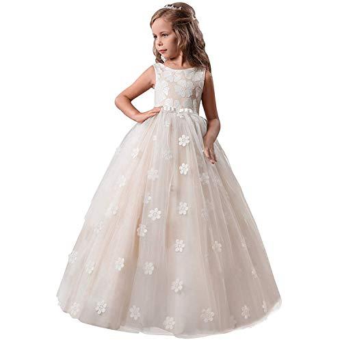TTYAOVO Chicas Princesa Flor Vestir Hinchado Danza Pelota Tul Vestidos 13-14 años(Talla170) 363 Amarillo
