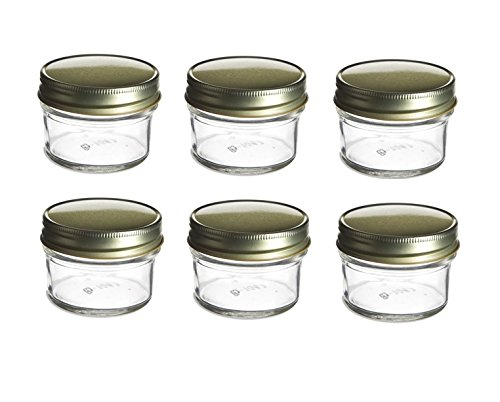 Nakpunar 6 pcs 4 oz Glass Mason Jars with Gold Lids (4 oz, Gold - 6 pcs)