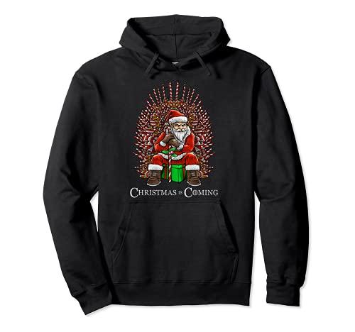 Navidad se acerca Santa sentado en el trono divertido Navidad Sudadera con Capucha
