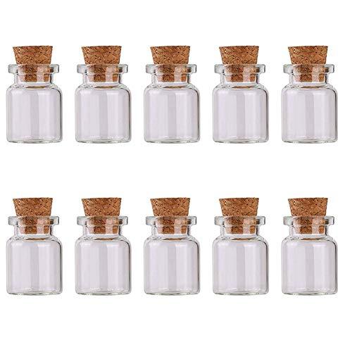 Botella de vidrio, 2 ml, mini tarros con tapón de corcho para muestras de vidrio, para decoración de bodas, fiestas, 10 unidades