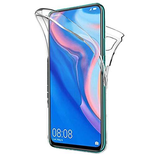 Wanxideng 360 Grad Schutz Entworfen für Honor 9X/Huawei P Smart Z Hülle, Transparent Ultra Dünn TPU Silikon Hülle Vorne & PC Zurück Hülle Ursprüngliche Schönheit Doppelte Schutzabdeckung-Transparent