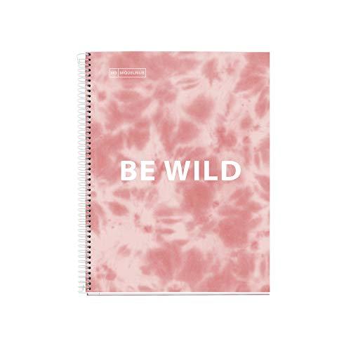 Miquelrius - Cuaderno Libreta Antiviral, Tapa Dura Cartón Antibacterias Duro, A4, 4 Franjas de Colores, 120 Hojas Cuadriculadas de 90 gramos, 4 Taladros, Tie Dye Rosa