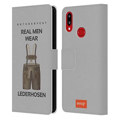 Head Case Designs Offizielle Emoji® Lederhosen Oktoberfest Leder Brieftaschen Handyhülle Hülle Huelle kompatibel mit Samsung Galaxy A10s (2019)