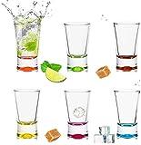 Set di 6 bicchierini da liquore colorati, 2,5 cl, in vetro