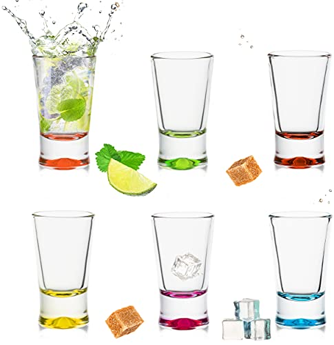 PLATINUX Shotgläser Set 6 Teilig bunt Schnapsgläser 2,5cl Tequilagläser Wodkagläser Pinnchen aus Glas