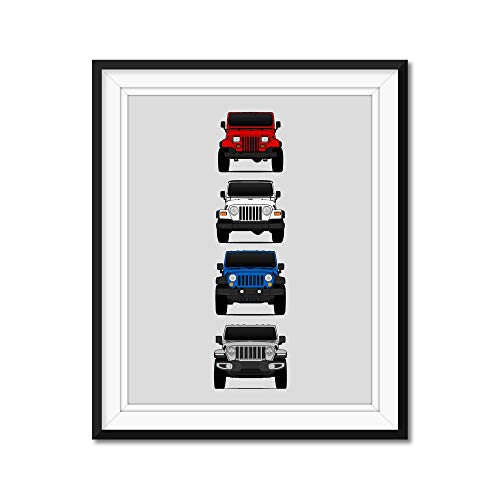 Jeep Wrangler Generations (YJ, TJ, JK, JL) Inspired Poster Print Wall Art of the History and Evolution of the Wrangler Generations