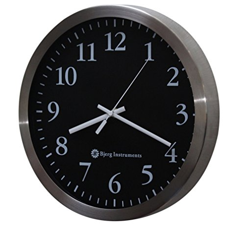 """Bjerg Instruments Modern 12"""" Stainless Silent Wall Clock with Non Ticking Quiet and Accurate Movement"""