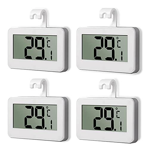 CAMWAY Fridge Thermometer Digital Freezer Room Thermometer Waterproof with Hook , Accurate Temperature Readings, Large LCD Display Refrigerator Thermometer (White-4 Pack)