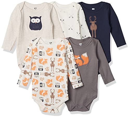 Hudson Baby Unisex Baby Cotton Long-sleeve Bodysuits, Forest, 6-9 Months US