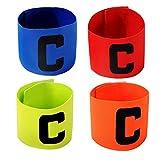 cjixnji Fußball Captain Armband,Junior Fußball Elastic Armbinden für Kinder, Klettverschluss für verstellbare Größe, geeignet für mehrere Sportarten wie Fußball & Rugby von,4 Stück