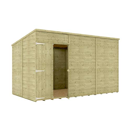 12 x 6 Pressure Treated Hobbyist Pent Shed Tongue & Groove Shiplap Cladding Construction Windowless Offset Door OSB Floor Wooden Garden Shed 3.65m x 1.82m