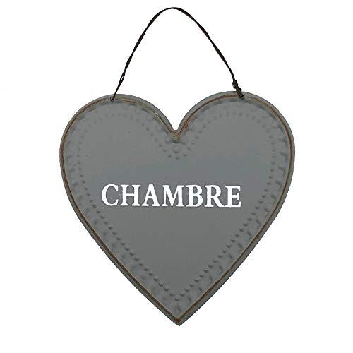chemin_de_campagne Plaque de Porte Chambre Fer Style Ancien Gris Cœur 13 cm