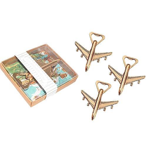 ZLININ Paquete de 12 abrebotellas de avión, caja de regalo de avión, avión de viaje, abrebotellas de cerveza, regalo de fiesta, decoración de boda de cumpleaños