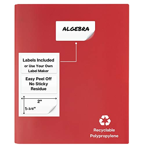 Dunwell Black Folders with Prongs and Pockets- (12 Pack, Blue, Black, Red) Plastic Folders with Fasteners, Letter Size 2-Pocket Folders for Office, Colored Folders with Pockets, with Removable Labels Photo #2