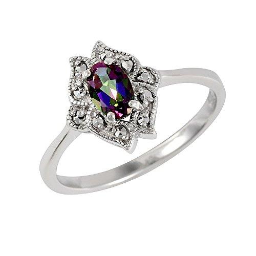Esse Marcasite Ring Sterling-Silber 925 rhodiniert Ovalschliff mystischer grüner Topas Jugendstil, mehrfarbig, Large