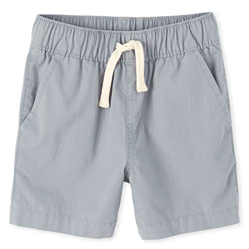 The Children's Place boys Solid Jogger Shorts, Fin Gray, 3T US