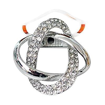 maikun Round Rhinestone Brooch Scarf Ring Gift for Valentine's Day