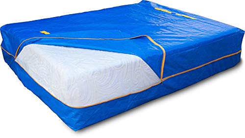 LEVARARK Mattress Bag for Moving and Storage | King Set Double Cover Heavy Duty Tarp Plus 4 Mil Thick Plastic Mattress Protector | Sturdy Reusable Material | Handles and Strong Zipper Closure (2pck)