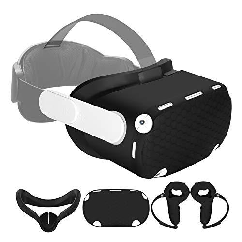 Esimen Capa protetora para máscara facial Oculus Quest 2, acessórios de cobertura frontal de silicone premium, antitranspiração, antiqueda, pacote com 4 (preta)