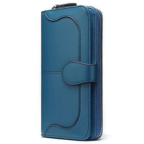 QNONAQ Cartera Multifuncional Grabado Women's PU Wallet Women Monedero Titular de la Tarjeta Rojo Monederos de Mujer Embrague Bolsa de Dinero Lady Handy Long Alta Capacidad (Color : Blue)
