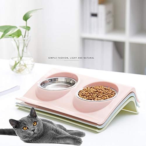 MAXIAOQIN Pet Doppel Schüsseln Lebensmittel Wasser Feeder Edelstahl Katzenfutter Schüssel for Hundewelpen Katzen Heimtierbedarf Futternäpfe S/M (Color : 7, Size : L29xW18.5xH6.2CM)