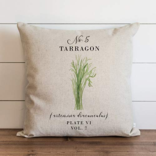 Promini Funda de almohada de estragón botánica, para decoración del hogar, primavera, verano, jardín, funda de almohada para sofá, banco, cama de 60,6 x 60,6 cm