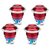DIYhz 4Pcs DC6V/12V/36V/125/250V 3A 16mm Metal Push Button Switch Momentary Screw Terminal Button with Pack of 4 Red Switches for Industrial Boat Car DIY Switch