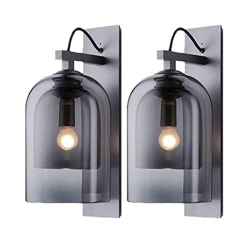 Auccy Lámpara de pared para interior E14, moderna creativa LED redonda color gris ahumado pantalla de cristal, para noche, dormitorio, pasillo, sala de estar iluminación de pared, 2x