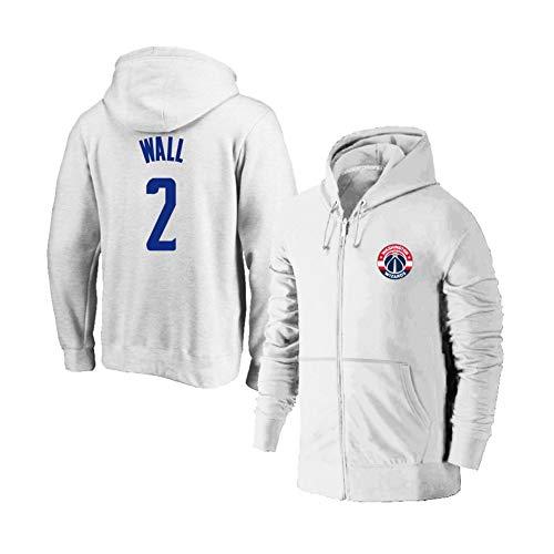 YUNAN Herren Basketball Jersey Hoodie Washington Wizards #2 John Wall Kapuzenpullover Zipper Training Jersey für Sport und Freizeitkleidung - weiß-XXXL