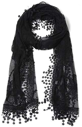 Women's lightweight Feminine lace teardrop fringe Lace Scarf Vintage Scarf Mesh Crochet Tassel Cotton Scarf for Women,One Size,Black
