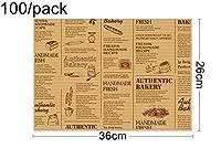 西渓 36 * 26センチメートル、100 /パック - ケータリング用品、チーズフレンチフライワックスは、テキストを印刷クラフト紙の食品ラップをテイクアウト 羊皮紙 (Color : Light Yellow)